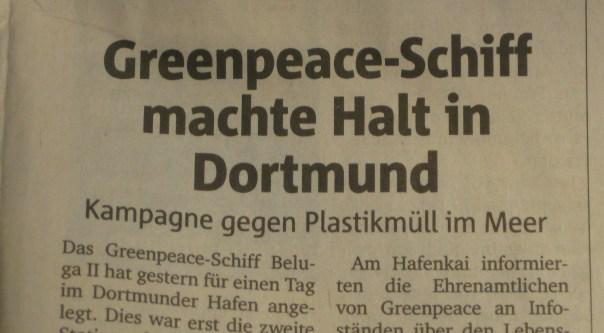 Greenpeace-Schiff Beluga II im Dortmunder Hafen