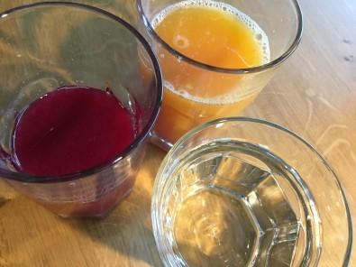 Wasser Orangensaft Granatapfel-saft